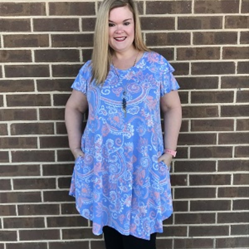 Our Ruffle Sleeve Floral Dress is now available and looks gorgeous on. You can wear this to your coming up vacations. The material has a lot of stretch made of 96% Polyester 4% Spandex with a length of 36in.