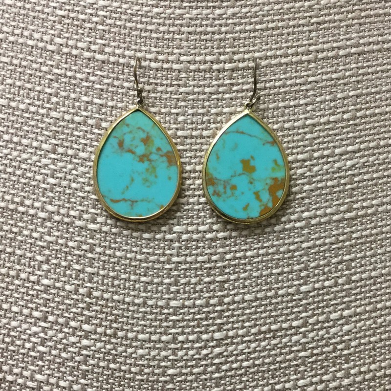 Stella &amp; Dot Tear Drop Earrings<br /> Turquoise/Gold<br /> $12.50