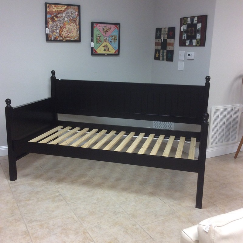 Supernice daybed! It's long, sleek and black - perfect condition. Mattress not included.
