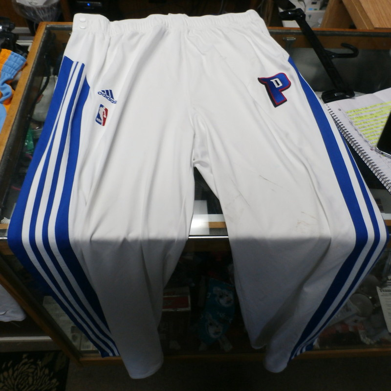 "Detroit Pistons white Adidas tearaway pants size 2XLT polyester #29963<br /> Rating: (see below) 4- Fair Condition<br /> Team: Detroit Pistons<br /> Player: N/A<br /> Brand: Adidas<br /> Size: Men's XXLT- (Measured Flat: waist 19""; Length 50""; inseam 36"")<br /> Color: white<br /> Style:  elastic waistband with drawstring; embroidered<br /> Material: 100% polyester<br /> Condition: 4- Fair Condition - lots of stains; minor wear (see photos)<br /> Item #: 29963<br /> Shipping: FREE"