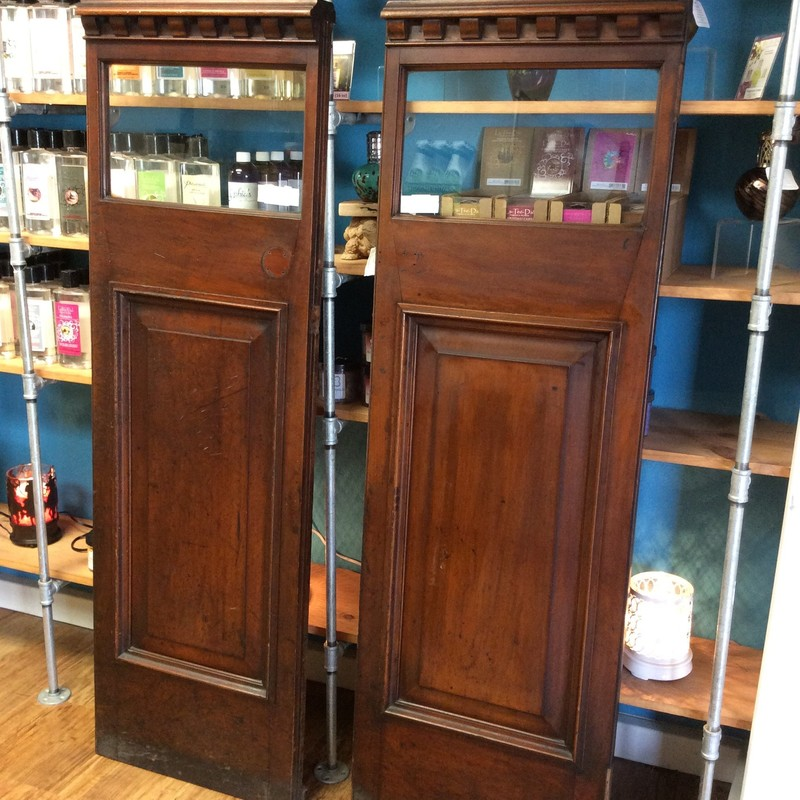 This is a classy set of wooden door panels with a glass inlay. Measuring 61 x 20, they are small enough to be used as a  decorative accessory in so many ways! Or you could simply lean them against a wall.