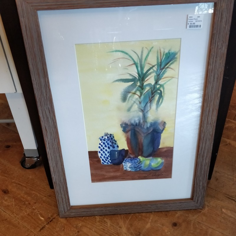 "Potted Plant, Yellow, Size: 22""x16"""
