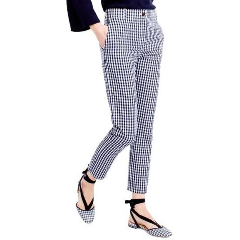 J. Crew Cigarette pant in puckered gingham navy and white size 6 EUC<br /> <br /> &quot;    Sits at hip.<br />     Fitted through hip, with a slim leg.<br />     Front rise: 10&quot;.<br />     26 1/2&quot; inseam.<br />     14&quot; leg opening (based on size 6).<br /> We took a classic menswear pant, tailored it just for her and gave it an extra-ladylike twist, thanks to puckered gingham. It&#039;s the perfect desk-to-dinner look, especially with its matching blazer.<br /> <br />     Cotton.<br />     Machine wash.<br />     Import.&quot;<br /> <br /> Photo and description credits: jcrew.com