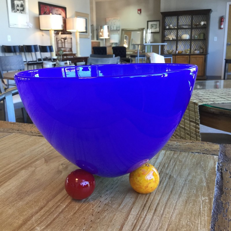 Handmade Glass Bowl, Blue, Size: 8""