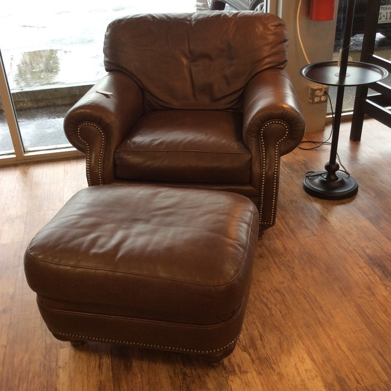 Oh my, when I first sat in this chair I felt like I was becoming one with it! It is clearly filled with luxurious down feathers. The high-end leather is as yummy as butter. Stop by and see this duo for yourself!