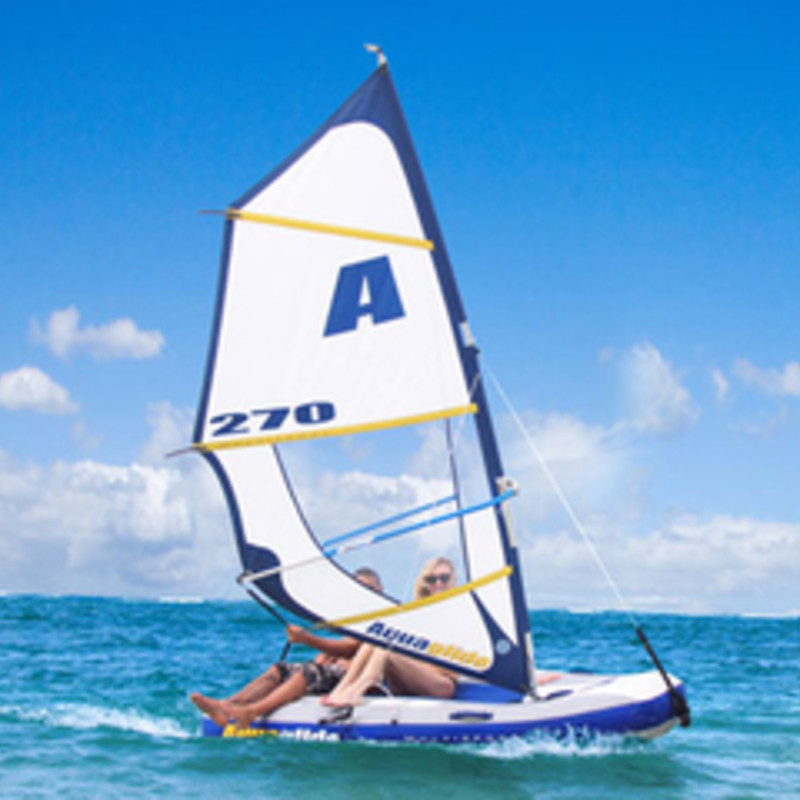 The Multisport 270 inflatable from Aquaglide combines the joy of sailing and the thrill of windsurfing in a compact package that can go just about anywhere. In just minutes, convert from windsurfer to kayak to sailboat - even a tow toy or tender!<br /> Features include:<br /> <br /> •Set up time approximately 10 minutes<br /> •Easily convert from sail to windsurfer.<br /> •Stable<br /> •Wheeled storage bag houses all components and can fit in most car trunks.<br /> •Includes roller travel bag, tiller handle, rudder, 2 keel pieces, sailing harness, main sheet/uphaul strap, mast base, foot pump, sail and sail bag, mast, boom and hull, instructions.<br /> <br /> <br /> Specifications:<br /> <br /> •Hull size: 102&quot; L x 60&quot; W x 20&quot; D<br /> •Rig size: Mast (138 inches); Boom (57 inches); Area (33 sf)<br /> •Weight capacity: 400 lbs<br /> •Windsurfing: 1 person<br /> •Sailing: 1-2 person<br /> •Tow toy: 1-2 person<br /> •Weight: 79 lbs<br /> •Boxed dimensions 62&quot; x 23&quot; x 10&quot;