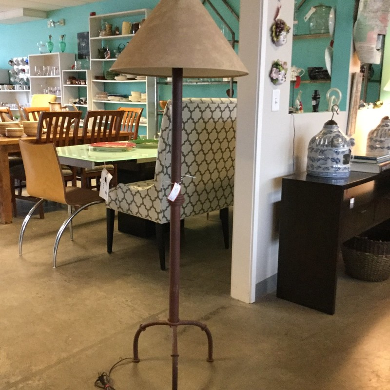 "Metal Floor Lamp, Rustic, Size: 60"" with Suede Shade"