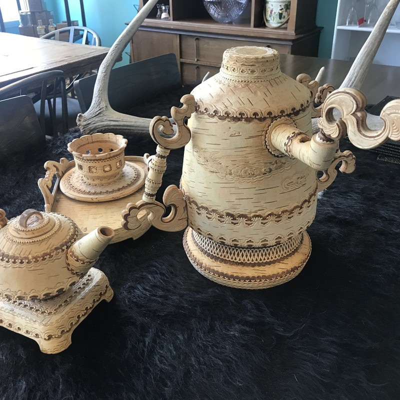 Russian Birch Tea Set Decor, BirchWoo, Size: 13""