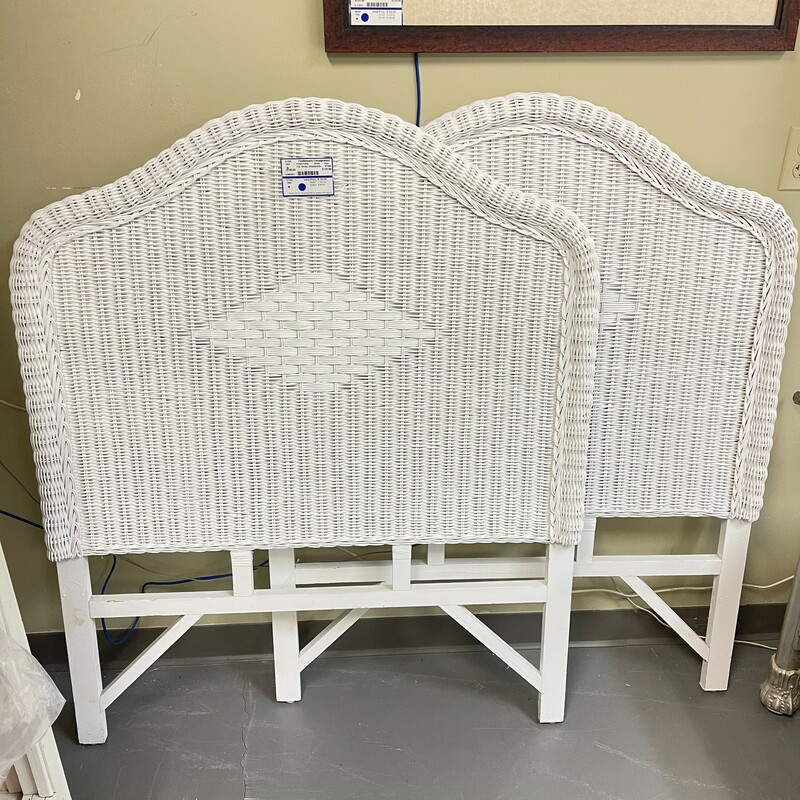 Pair of Twin Wicker Headboards, White. Sold together as a PAIR.<br /> Size: 40x49in<br /> <br /> This item is not eligible for shipping - local pickup only.