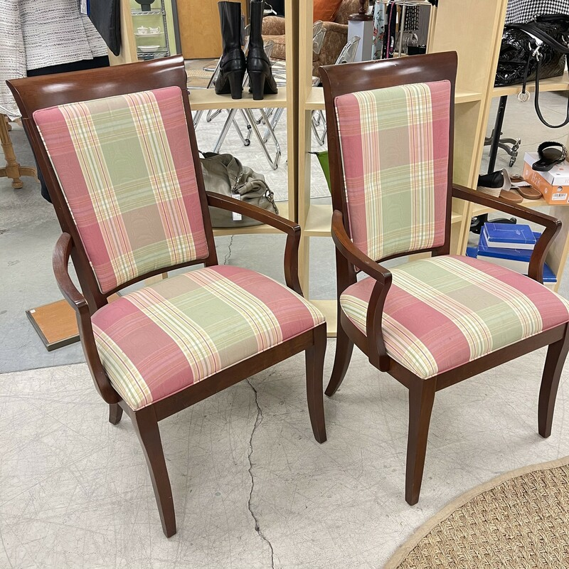 Two Ethan Allen Chairs, Pink/Green Plaid. Sold as a PAIR. Condition note: some stains/markings on seat cushions, photos provided for reference.<br /> <br /> This item is not eligible for shipping - local pickup only.