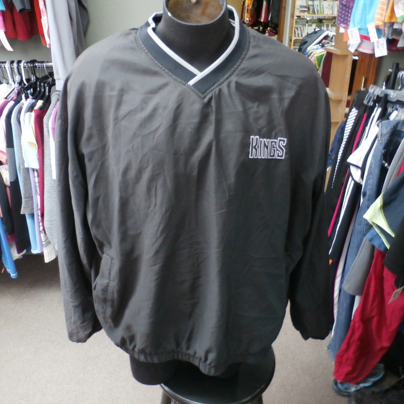 "Sacramento Kings Jacket, Black, Size: XL<br /> Sacramento Kings Pullover Jacket Men's size XL Black 30438<br /> Our Clothes Rating: 4- Fair Condition<br /> Brand: Proplayer NBA<br /> size: Men's XLarge- (Chest: 28"" Length: 28"")<br /> color: Black<br /> Style: Pullover Jacket; Embroidered<br /> Condition: 4- Fair Condition- slightly worn and faded; light pilling and fuzz; material is slightly stretched out from washing and use; fuzz on the fabric; wrinkles; faded and discolored; some light debris on it;<br /> Shipping: Poshmark<br /> Item #: 30438"