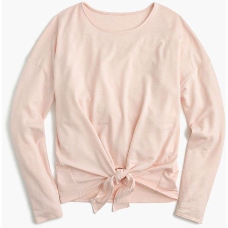 J. Crew EUC Tie-front L/s T-shirt, Peach, Size: Med<br /> <br /> &quot;A flattering tie front detail makes this long-sleeve T-shirt our new favorite classic-with-a-twist.<br /> <br />     Solids: viscose/poly/elastane; ivory/black: Modal® rayon/poly/viscose/elastane.<br />     Machine wash.<br />     Import.Body length: 23&quot;.<br /> <br /> Photo and description credits: jcrew.com