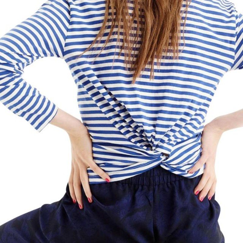 J. Crew Twist-Back L/s Stripe Top, Blue, Size: Large<br /> <br /> &quot;A classic striped T-shirt with a twist,this soft top is a perfect match for jeans, leggings, easy pants...<br /> <br />     Cotton.<br />     Machine wash.Body length: 22 1/2&quot;.<br /> <br /> Photo and description credits: jcrew.com