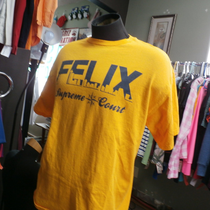 "Felix Shirt Mariners, Yellow, Size:<br /> Men's Seattle Mariners Felix Supreme Court T Shirt yellow size XL 30613<br /> Our Clothes Rating: 3- Good Condition<br /> Brand: Delta Pro Weight<br /> size: Men's XLarge- (Chest: 21"" Length: 29"")<br /> color: yellow<br /> Style: screen pressed short sleeve shirt<br /> Condition: 3- Good Condition- slightly worn and faded; light pilling and fuzz; material is slightly stretched out from washing and use; fuzz on the fabric; wrinkles; faded;<br /> Shipping: FREE<br /> Item #: 30613"