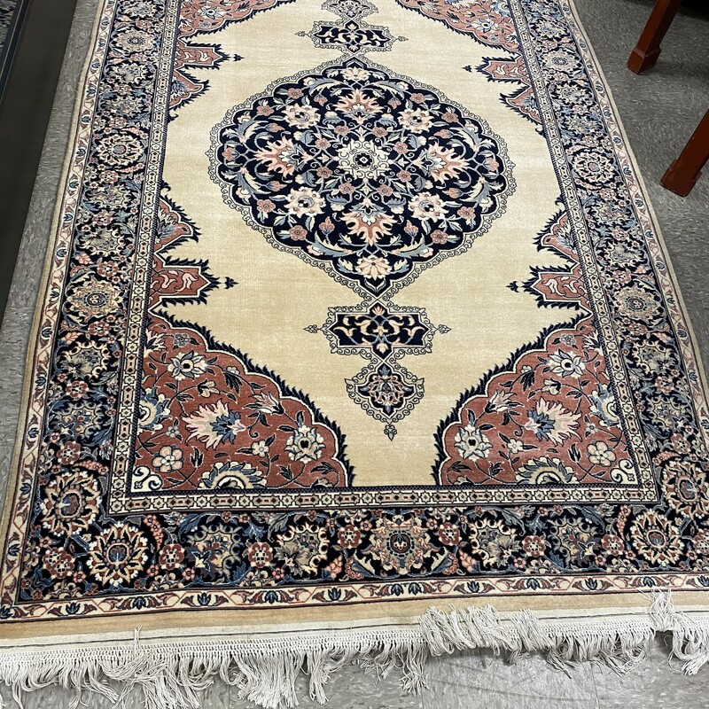 Finely Knotted Persian W/Mark & Braided Fringe, Beige, Size: 4.5x7.5 Ft