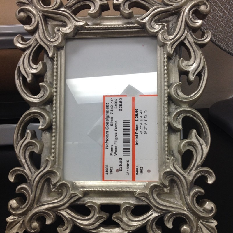 Wood Filigree Frame, Silver, Size: 7.5x9 Inch
