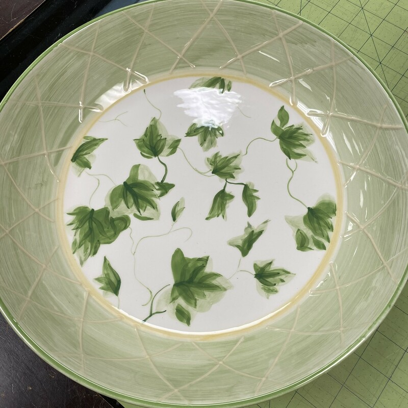 Waverly Gazebo Serving Bowl, Grn/Wht, Size: 13x3 In