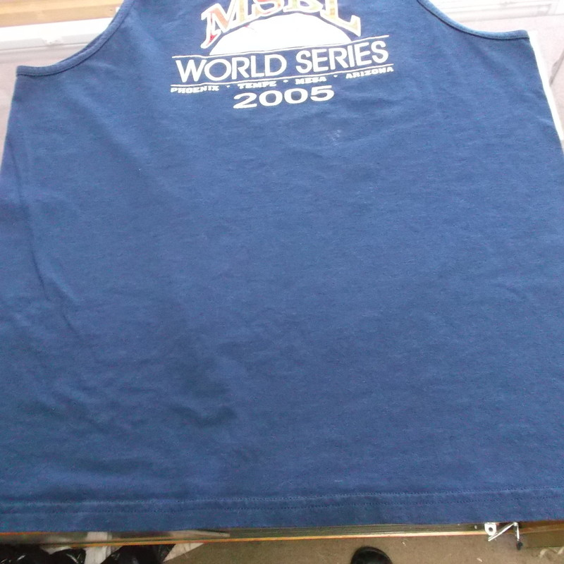 "MSBL World Series 2005 Hanes Sleeveless Shirt Size Large Blue Cotton #8299<br /> Rating:   (see below) 3 - Good Condition<br /> Team: Men's Senior Baseball League<br /> Event: 2005 World Series<br /> Brand: Hanes<br /> Size: Large - Adult(Measured Flat: Across chest 20""; Length 28"")top of shoulder to the hem<br /> Color: Blue<br /> Style: Sleeveless screen pressed shirt<br /> Material: 100% Cotton<br /> Condition: - Good Condition - wrinkled; Material is faded and discolored; Minor pilling and fuzz; Material feels coarse; Stain below the left side of the logo; Some other light stains; Shows signs of use(See Photos for condition and description)<br /> Shipping: $3.37<br /> Item #: 8299"