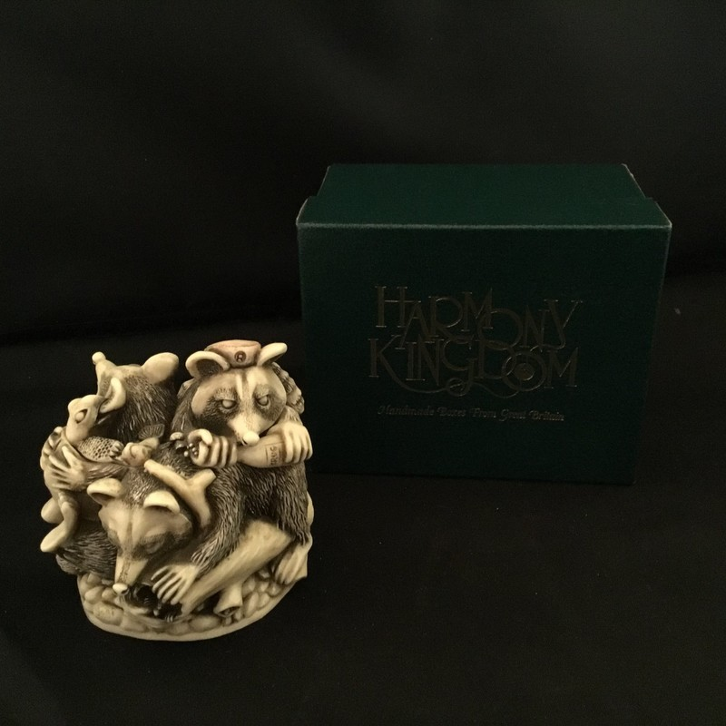 Rocky&#039;s Raider is a Harmony Kingdom box figurine hand crafted our of crushed marble in the UK. This figurine depicts 3 mischievous raccoons with their various treasures.<br /> 2 1/2&quot; tall<br /> 2 1/2&quot; wide