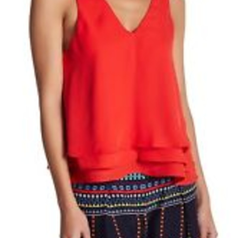 Parker Red Size Med Layered V-neck Tank Cami Top
