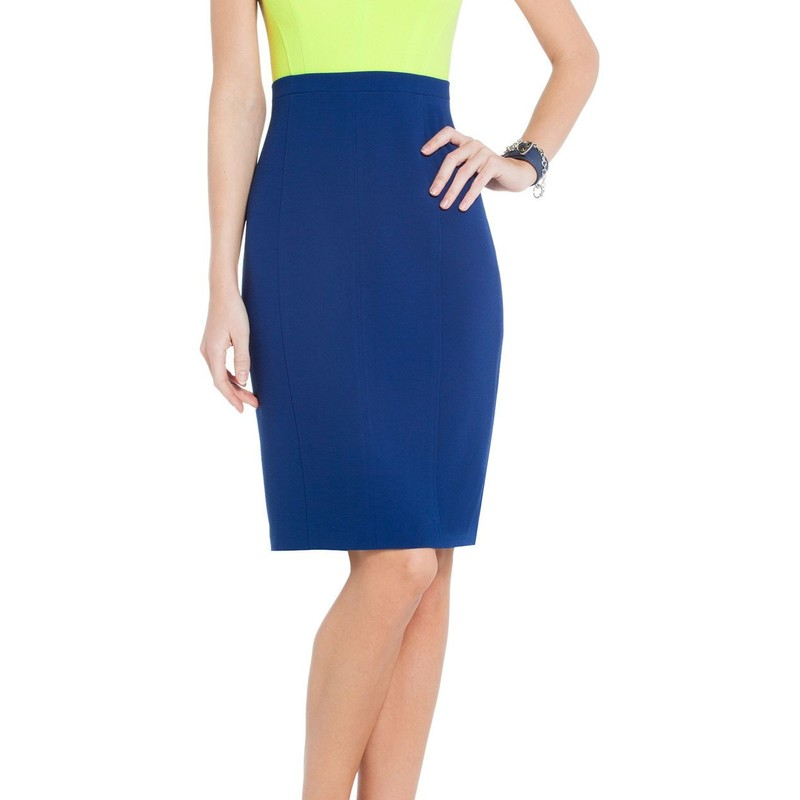 "BCBG like new condition Blaire Color-Blocked Sheath Dress, orig.rtl: $268<br /> <br /> ""    Leave a lasting impression in the perfectly polished BCBGMAXAZRIAâ""¢ sleeveless dress.<br />     Colorblocked sheath dress boasts front and back body seams for a shapely silhouette.<br />     Rounded neckline. Slim banded waist provides proportion.<br />     Reverse seaming frames the zip closure at back. Vented back hem.<br />     Fully lined. 100% polyester.""<br /> <br /> Photo and description credits: bcbg.com"