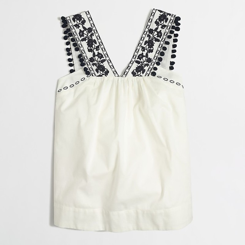 J. Crew euc Embroidered Pom-pom Tank, Ivory, Size: 2<br /> <br /> &quot;Cotton.<br /> Lined.<br /> Dry clean.&quot;