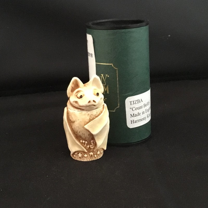 Count Belfry is a Harmony Kingdom pendant made from crushed marble in the UK.  You can own the night with this cute little bat around your neck.  His head screws off to hide your secrets inside.<br /> 2&quot; tall<br /> 1 1/4&quot; wide