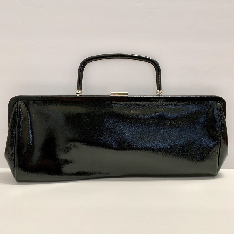 Hobo International Whitney Clutch<br /> -Black patent leather with black and white gingham lining<br /> -Drop-in handle allows this to convert from purse to clutch instantly<br /> Black, Size: 15&quot;