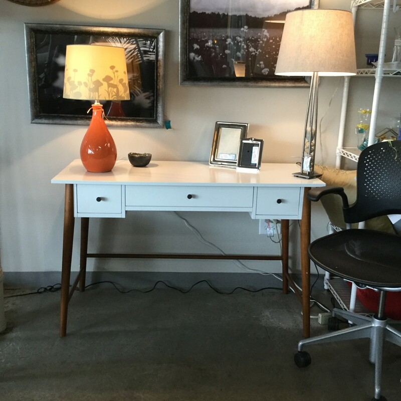 "West Elm Modern Desk, White Wood, Size: 40.5""x21\""X30\"""