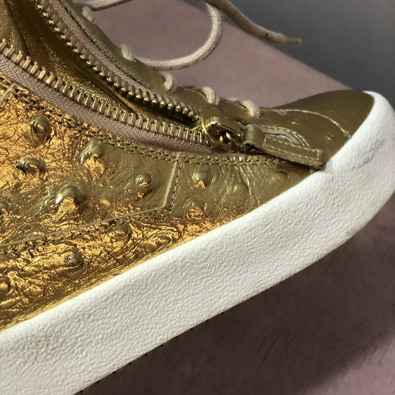 Giuseppe Zanotti Hightops, Gold, Size: 36.5<br /> size is US 6-6.5. Very minor marks, hardly worn!