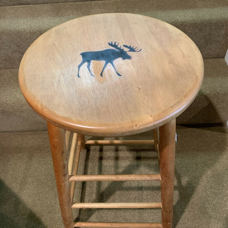 "Moose Branded Stool<br /> Size: 14"" round seat on 25\"" high stool<br /> Solid wooden stool with a moose branded into the seat."