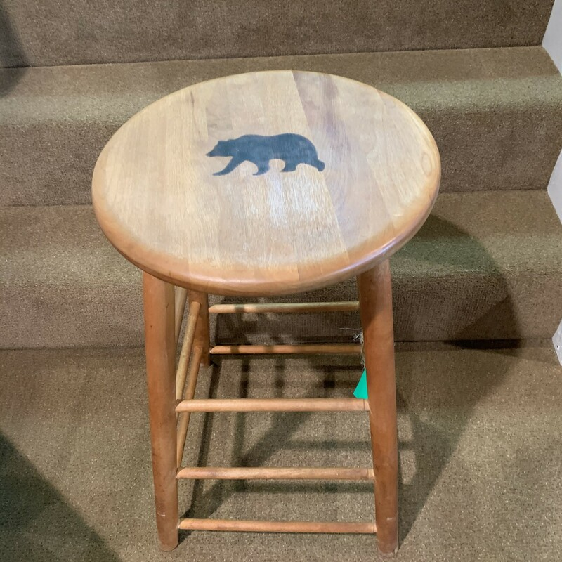 "Bear Branded Stool<br /> Size: 14"" round seat on 25\"" high stool<br /> Solid wooden stool with a moose branded into the seat."