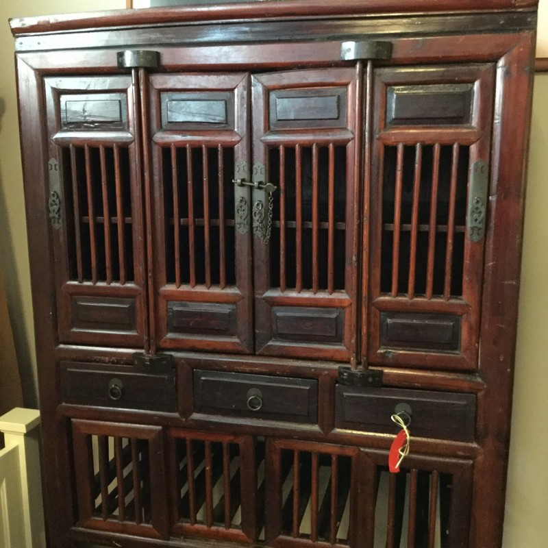 "Wooden Asian Cabinet, Brown, Size: 39""X21""X62"""