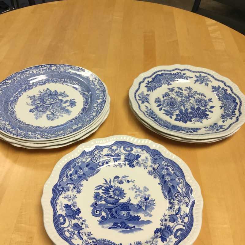 Set of 9, Spode Plates, Blue/White, Size: 10""