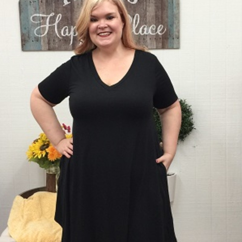 Our Zenana Black Pocket Dress is now available and looks gorgeous on. You can wear this to any occasion. The material has a lot of stretch made of 55% Polyester 40% Rayon 5% Spandex with a length of 40.5 in.