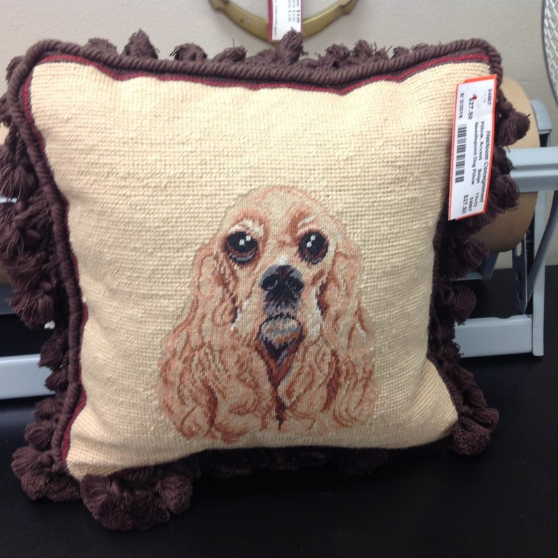 Needlepoint Dog Pillow, Beige, Size: 13x13