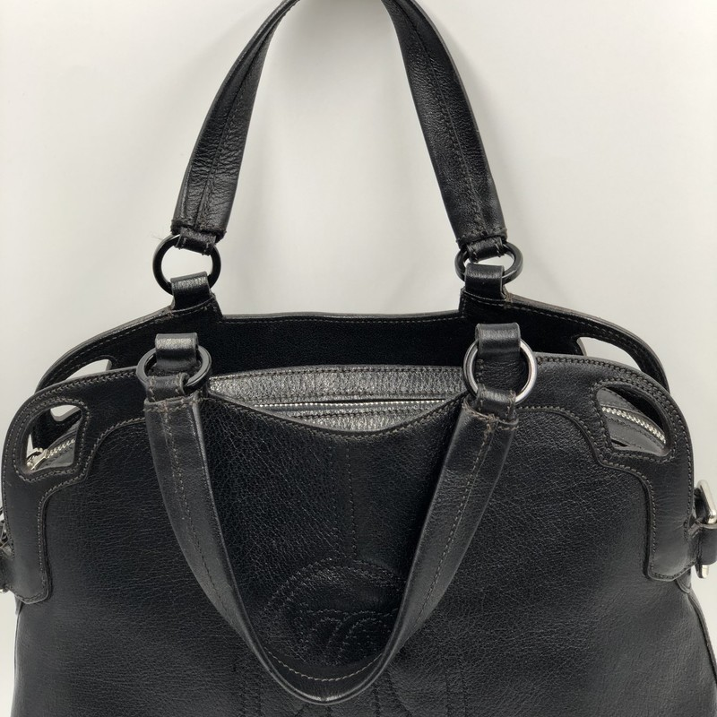 Cartier Marcello Bag, Blk, Crossbdy<br /> <br /> Condition: Excellent, No visible marks<br /> <br /> 14&quot;W x 5&quot;D x 12&quot; H; Drop Strap: 16&quot;<br /> <br /> We guarantee the authenticity of every bag on our site. Each bag comes with either an original sales receipt or a Certificate of Authenticity from AuthenticateFirst.com.  Established in 2013, AuthenticateFirst.com<br /> (http://authenticatefirst.com) is one of the premier authentication services in the US, providing authentications of designer handbags, wallets, small leather goods, footwear, jewelry, and accessories. They employee in-house experts who have decades of experience working with hundreds of luxury brands.