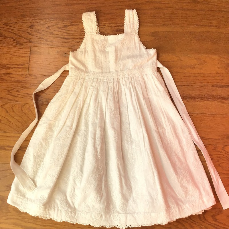 Cotton Kids Dress, White, Size: 4