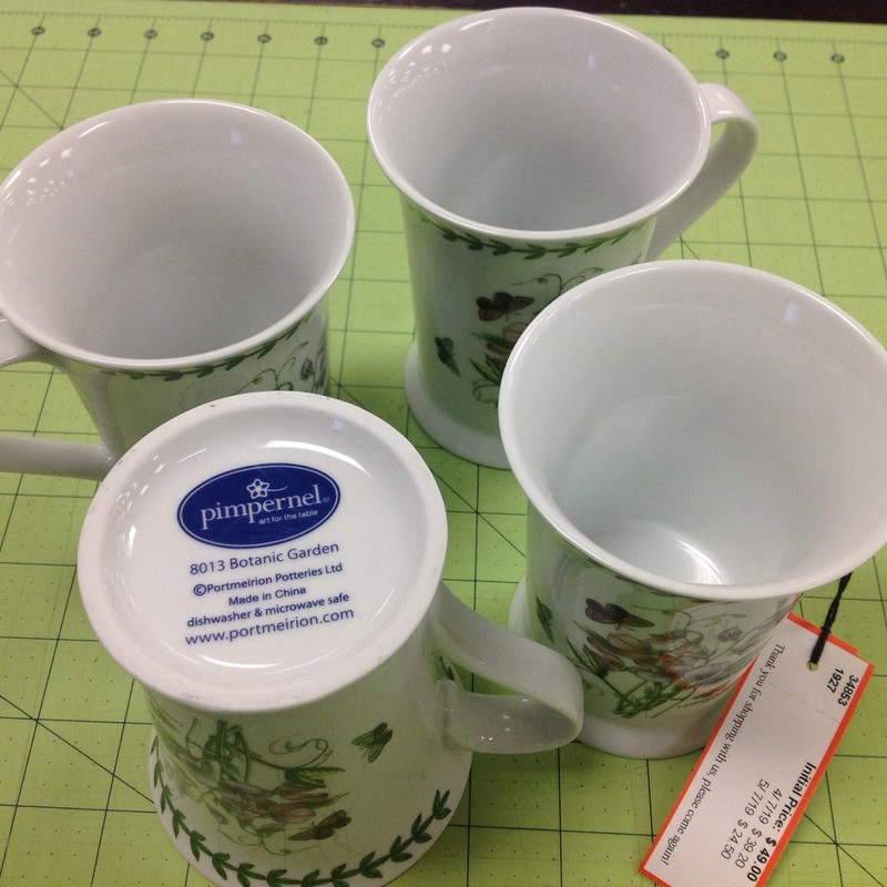 4 Portmeirion Mugs, White, Size: 5 Inch