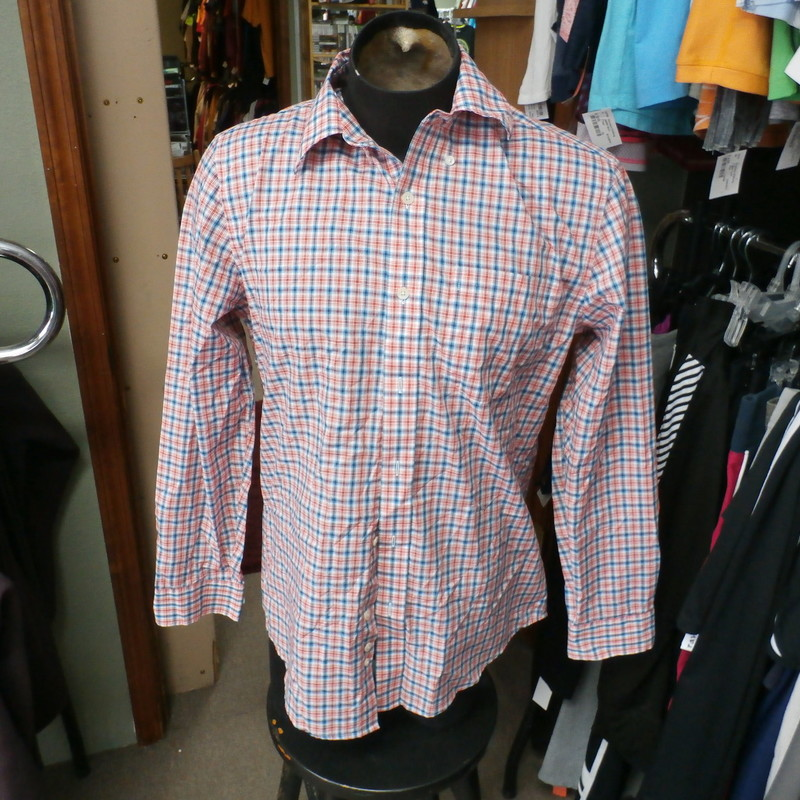 "Saddlebred men's long sleeve button up shirt Plaid size Medium cotton blend #30969<br /> Rating: (see below) 3- Good Condition<br /> Team: n/a<br /> Player: n/a<br /> Brand: Saddlebred<br /> Size: Men's Medium- (Measured Flat: Across chest 22""; Length 30"")<br /> Measured Flat: underarm to underarm; top of shoulder to bottom hem<br /> Color: Multi<br /> Style: long sleeve; button front<br /> Material: 55% Cotton 45% polyester<br /> Condition: 3- Good Condition: wrinkled; pilling and fuzz; item is lightly discolored from use; a few very minor stains or dirtiness<br /> Item #: 30969<br /> Shipping: FREE"