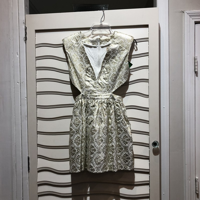 Mustard Seed Dress , White with Metallic Gold print.  Side cut-outs.  Sleeveless.   Size: L NWT