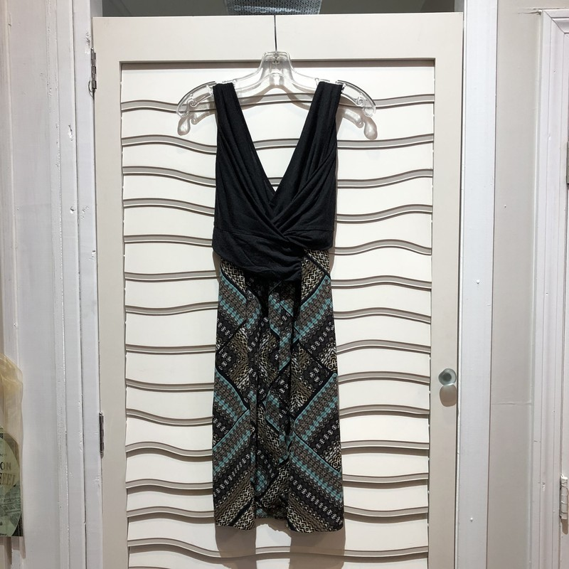 Sleeveless dress by Amadi for Anthropologie, Gray v-neck top and attached print skirt . Size: M.  NWT