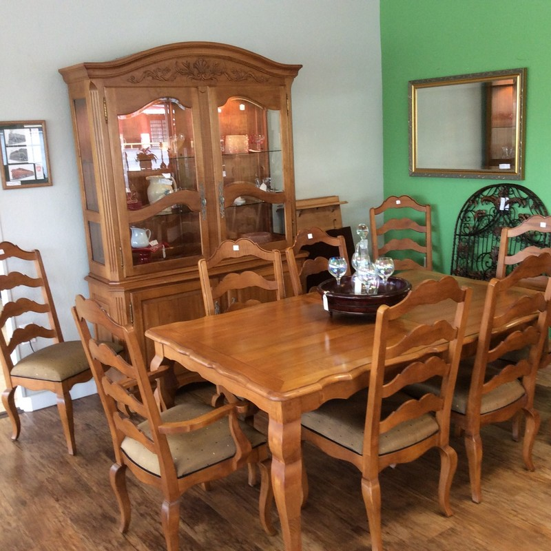 "Here is my bargain of the week! This gorgeous French Country  ETHAN ALLEN dining set - a 71"" table, two 20"" leaves, 8 upholstered chairs and a china hutch - features solid wood construction with lots of pretty carved details. All of this for only $1395, too!"