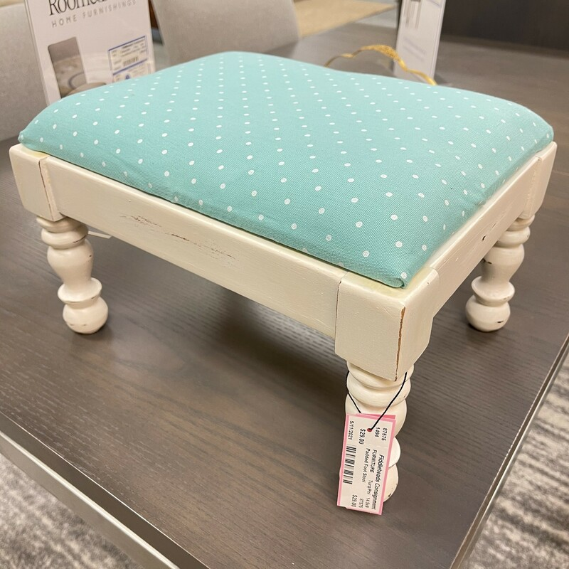 Padded Foot Stool, Tuquoise & Distressed White.<br /> Size: 15x9in<br /> <br /> This item is not eligible for shipping - local pickup only.