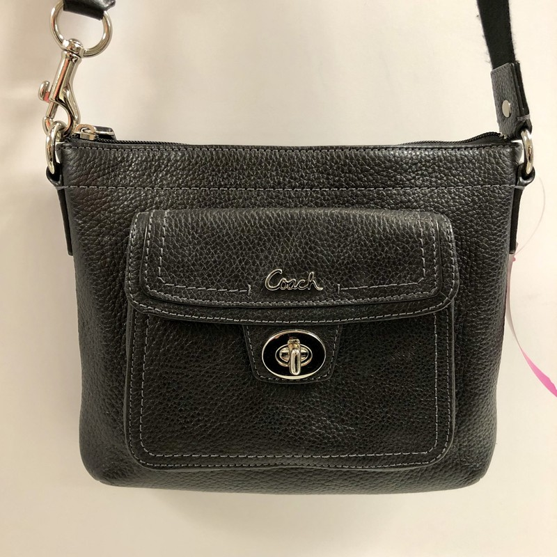 "Coach Pebbled Leather Crossbody/Shoulder Hand Bag<br /> Color: Black with polished silver hardware<br /> Measurements:<br /> 8.5"" wide x 7"" high x 1.5"" deep (not including outside pocket)<br /> Features:<br /> -Adjustable strap to wear as a crossbody or shoulder   hand bag<br /> -Top zipper closure<br /> -Front outside pocket (1/2"" deep) with toggle closure<br /> -Pre-loved, excellent condition"