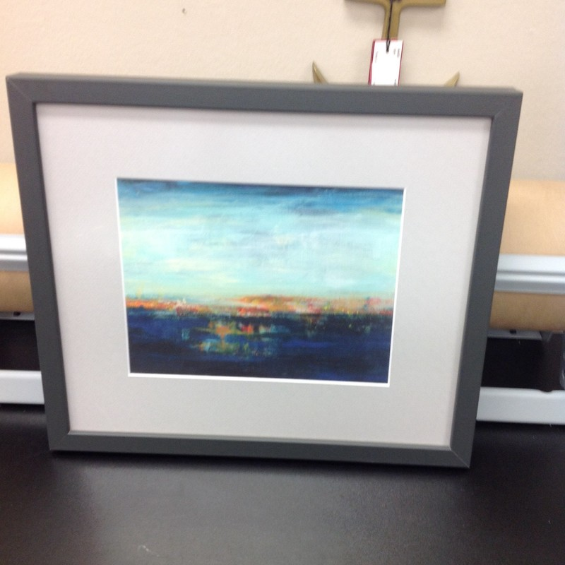 Abstract Landscape Print, Black, Size: 15x13