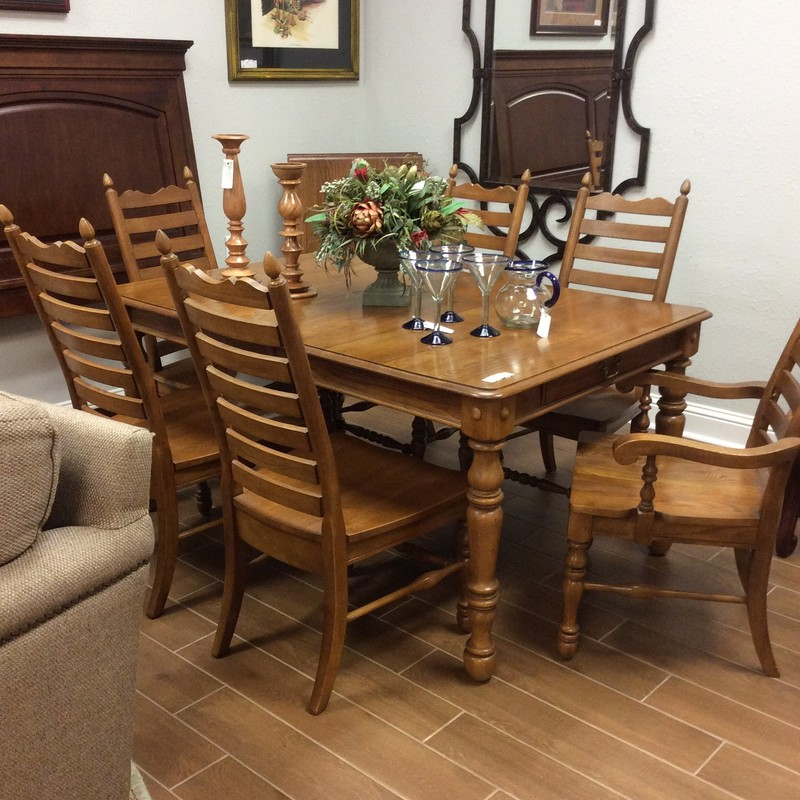 "This is a lovely dining room set by Keller!  Keller's Home Furnishings is still family owned and known for solid wood furniture construction. This set includes 6 chairs and 2 leaves - large in and of themselves, what a great addition to the dining room for a large family and friends gathering! This set is oak and the table features  a deep drawer at both ends of the table. Clean, simple lines - might even call it ""farmhousy"". It's in very good condition and has been priced well. Come visit us soon!"