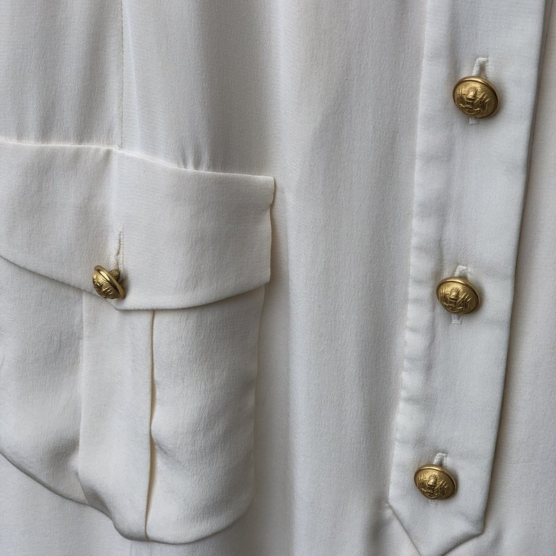 The J Peterman Co Vintage, Ivory, Size: 4<br /> Gold nautical buttons. Silk dress and lining. Exceptional style. Small faded stain on tie. Back vent and button detailing.