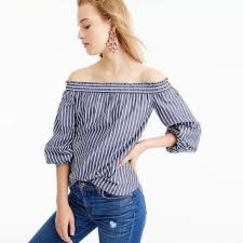 J. Crew Striped Long-Sleeve Off-The-Shoulder Top size 16<br /> <br /> &quot;Off the shoulder isn&#039;t going anywhere anytime soon, and this is our latest (cold-weather ready!) take.<br /> <br />     Cotton.<br />     Machine wash.&quot;<br /> <br /> Photo and description credits: jcrew.com