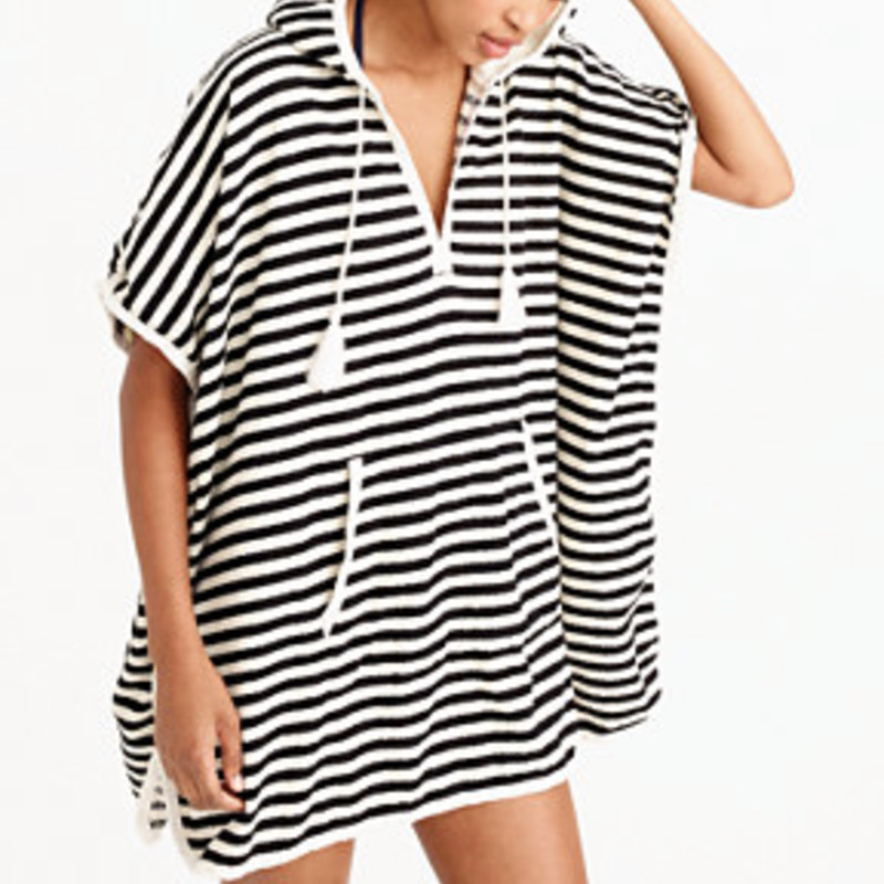 J. Crew EUC stripe Hooded Terry Poncho Dress, Nvy/wht, Size: M/L<br /> <br /> &quot;Forget the towel and just pack this terry poncho dress (well, not really, but you get what we mean). It&#039;s supersoft, slightly absorbent and features kangaroo pockets, plus a longer length so you can run into town right after the beach.<br /> <br />     Cotton.<br />     Machine wash.<br />     Import.Loose fit.&quot;